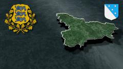 Valga whit Coat of arms animation map - stock footage