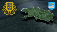Laane-Viru whit Coat of arms animation map Stock Footage