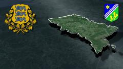 Tartu whit Coat of arms animation map - stock footage