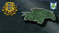 Viljandi whit Coat of arms animation map Stock Footage