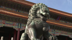 Forbidden City architecture & lion statue Stock Footage