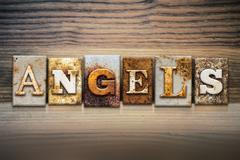 Angels Concept Letterpress Theme - stock photo