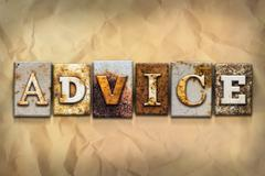 Advice Concept Rusted Metal Type Stock Photos
