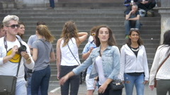 Young tourists walking in Odeon Square in Munich Stock Footage