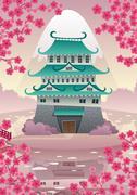 Japanese Castle - stock illustration