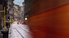 milan city twilight rainy day traffic tram street 4k time lapse italy - stock footage