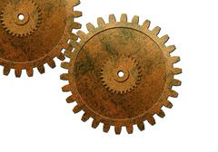 two gear used in automotive engine - stock photo