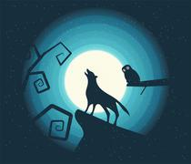 Wolf Howling in the Moonlight Stock Illustration