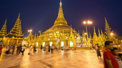 Time Lapse Shwedagon Pagoda at Night Myanmar Burma Stock Footage