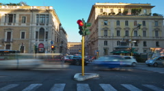 Time-lapse of a busy street in Rome. Cropped. Stock Footage