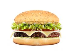 big cheeseburger isolated on white - stock photo
