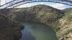Aerial view of iron bridge over canyon in Zamora, Spain Stock Footage