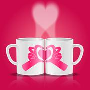 white cups with hands making heart shape - stock illustration