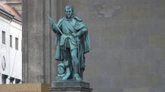 The Graf von Tilly Statue in Munich Stock Footage