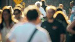 Unrecognisable anonymous crowd people pedestrians walking New York City NYC - stock footage