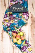 Fresh seasonal pears  on the wooden backround - stock photo