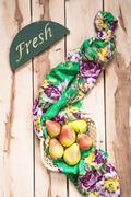 Fresh seasonal pears  on the wooden backround Stock Photos