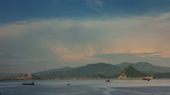 afternoon vladivostok port bay mountain panorama 4k time lapse russia - stock footage