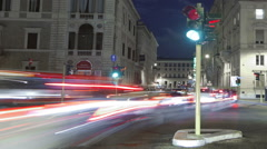 Nighttime time-lapse of a busy street in Rome. Cropped. Stock Footage