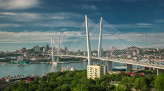 Vladivostok famous city bridge bay panorama 4k time lapse russia Stock Footage