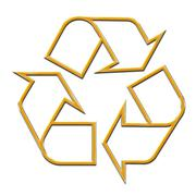 3D Golden Recycle Symbol - stock photo