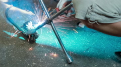 Gas-welding works Stock Footage