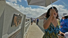 Tourists at the Pat Tillman Bridge, Hoover Dam - stock footage