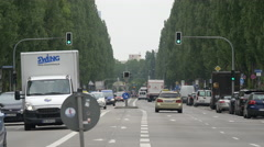 Driving on Leopoldstrasse in Munich Stock Footage