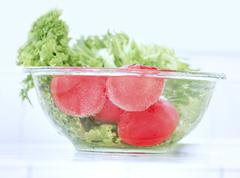 fresh tomatoes with pouring water - stock photo