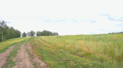 Landscape .Panorama of the nature with river, road and field Stock Footage