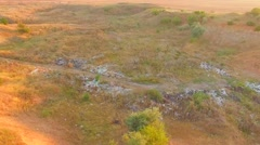 Waste Landfill With Garbage Scattered Around At Nature Stock Footage