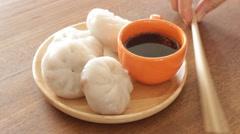 Having steamed dumpling stuff on wooden bowl Stock Footage