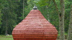 A wooden shingle shake roof of the little house Stock Footage