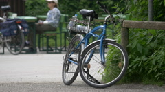 Bike parked in the park in Munich Stock Footage