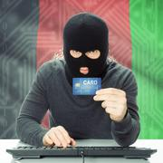 Concept of cybercrime with national flag on background - Afghanistan Stock Photos