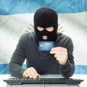 Concept of cybercrime with national flag on background - Argentina - stock photo