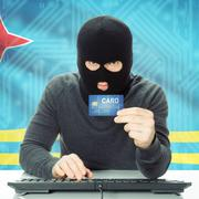 Concept of cybercrime with national flag on background - Aruba - stock photo