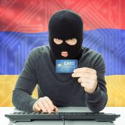 Concept of cybercrime with national flag on background - Armenia Stock Photos