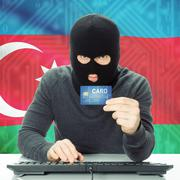 Concept of cybercrime with national flag on background - Azerbaijan Stock Photos