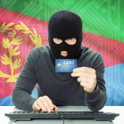 Concept of cybercrime with national flag on background - Eritrea Stock Photos