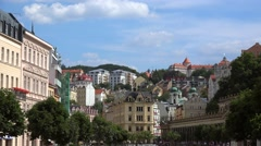 Types of Karlovy Vary. Area over Vridelni street & Mill Street waterfront Stock Footage