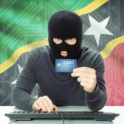 Concept of cybercrime with national flag on background - Saint Kitts and Nevi Stock Photos