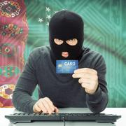 Concept of cybercrime with national flag on background - Turkmenistan Stock Photos