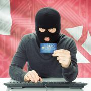 Concept of cybercrime with national flag on background - Wallis and Futuna - stock photo