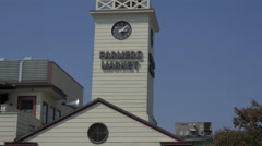 Close up of Farmers Market Clock Tower Stock Footage