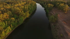 Aerial shot of valley with river, Russia Stock Footage