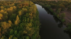 Flight over river valley, Russia Stock Footage