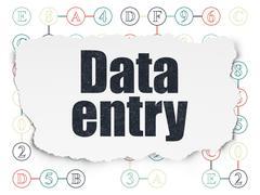 Information concept: Data Entry on Torn Paper background - stock illustration