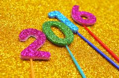 Glittering numbers forming the number 2016, as the new year Stock Photos