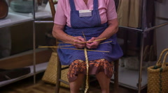 Old knitter on work Stock Footage